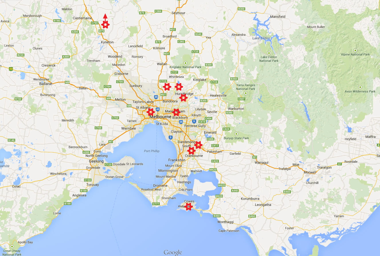 map of regional victoria. project location maps for mz landscaping australia